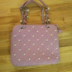Quilted Faux Pink Leather Pearl & Roses Purse!